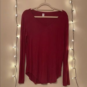 Red long-sleeve top